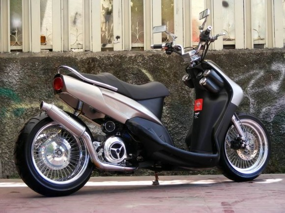 modifikasi yamaha mio low rider