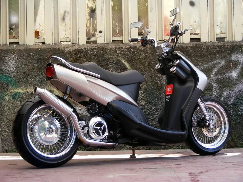 modifikasi yamaha mio low rider