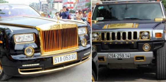 Hummer H2 dan Rolls-Royce Phantom Dibalut Dengan Lapisan Emas
