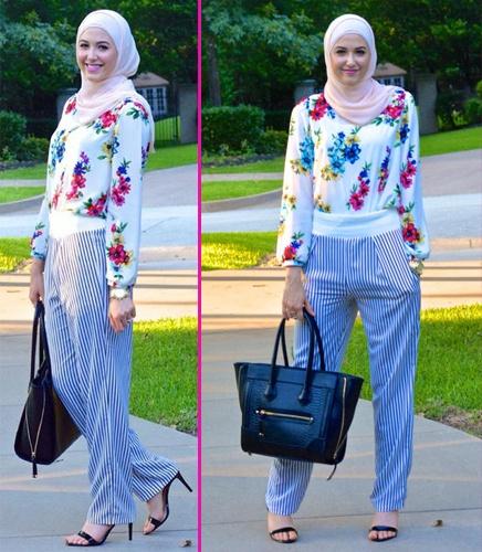 Tips Cantik Menggunakan Hijab Di Padukan Dengan Busana Bermotif